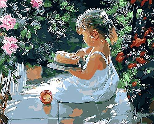 PAINTYTY strohoed meisje olieverfschilderij foto's door cijfers digitale foto's Lolita kleuren met de hand unieke geschenk voor vrienden huisdecoratie