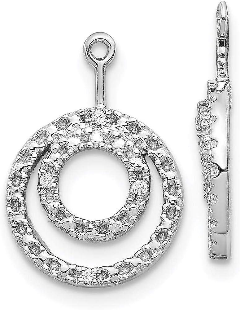 14k White Gold Double Circle Diamond Earring Jackets