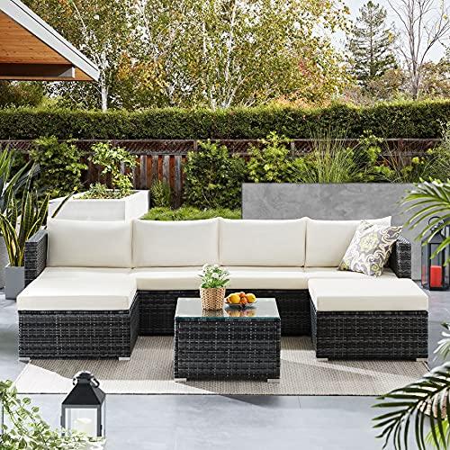 Tribesigns Conjunto de Muebles de Jardín 7 Piezas Ratán, con 2 Sillones, 2 Escabel, 1 Mesa de Vidrio, con Cojines, para Jardín, Terraza y Balcón (Gris/Beige)