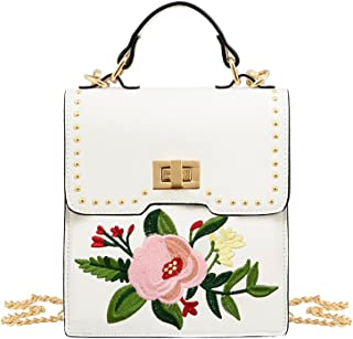 Bella Floral Embroidered Crossbody Handbag Designer Shoulder Mini Purse