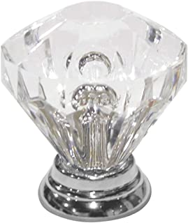 """Probrico Crystal Cupboard Door Knobs 31mm/1.2"""" Length Modern Clear Diamond Style Furniture Cabinet Drawer Pulls, 30 Pack"""