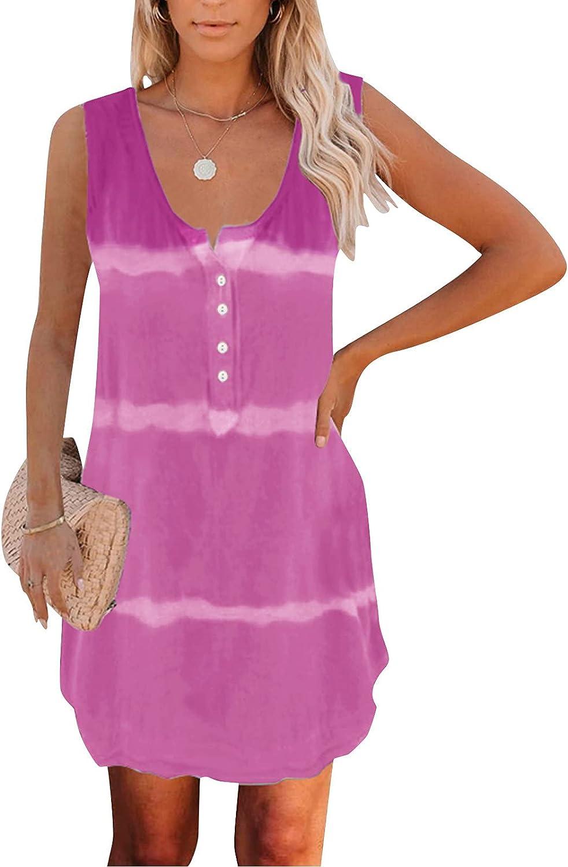 Lingbing Summer Dresses for Women Casual, Sleeveless Boho Short Dress Stripe Dress Button Up Tank Dress Mini Short Dress
