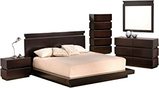 Knotch Modern King Bedroom Set in Brown Lacquer, 5-Piece