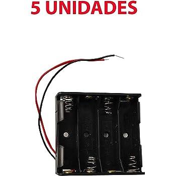 5X Portapilas 4 Pilas 6v Caja de batería para 4 Pilas AA 6V ...