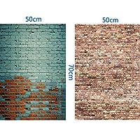 二枚入り 背景ペーパー 50x70cm ビニール素材 撮影背景紙 塗られたレンガの壁 商品 小物 写真背景 バックグラウンド 自宅撮影 小道具 XT-4157-XT-4194