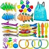 LISOPO 36pcsJuguetes de Buceo Conjunto,Juguetes de Buceo para Niños,Palos de Buceo para Nadar,Juegos de Agua en Verano, Kit de Regalo para Niños