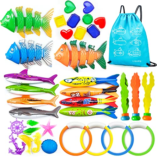LISOPO 36 Stücke Tauchspielzeug Unterwasser Pool Tauchringe Tauchstöcke Schwimmbadespielzeug Wasserspielzeug