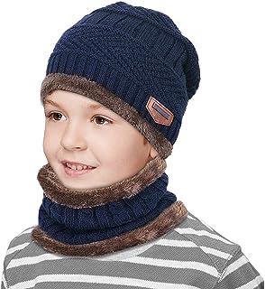 ZIQIAN Boys Girls Kids Winter Knitted Beanie Hat Scarf Set Warm Thick Fleece Lining Cap