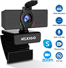 $49 » 2020 [Upgraded] 1080P Webcam with Microphone & Privacy Cover - NexiGo 110-degree Wide Angle Widescreen USB HD Camera, Plug and Play, Laptop Computer Web Cam for Zoom YouTube Skype FaceTime OBS