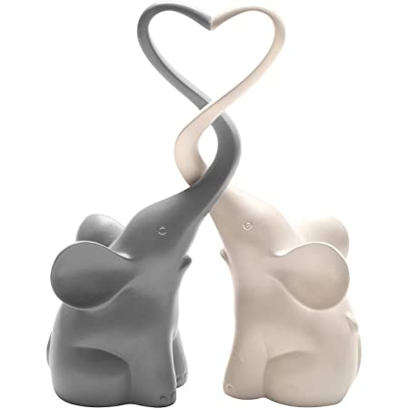 ART & ARTIFACT Two Piece Loving Elephants - Gray/White Intertwined Animal Pair Heart Sculpture, Home Decor Accent, Centerpiece