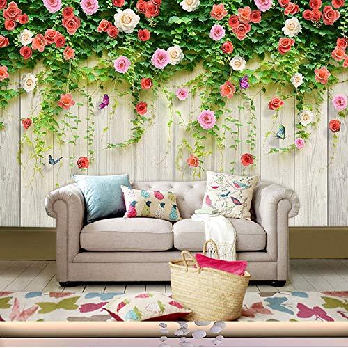 Literarische frische Garten Wand Beauty Salon Tapete Gesundheit Museum Tapete warme Nagel Shop Rose 3D Wand Tuch @ selbstklebende britische natürliche Holzmaserung [Spleißen] _Wallpaper only