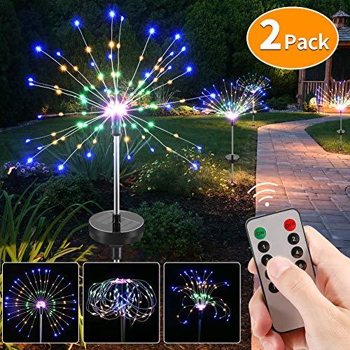 CrazyFire 120 LED Luces Solares para Jardín, Multicolor, para Exteriores, Bricolaje, árboles, 8 Modos, Resistente al Agua, con Mando a Distancia para Decoración de Fiestas de Navidad (2 PAQUETES)