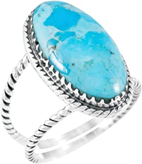 Turquoise Ring Sterling Silver 925 Genuine Gemstones Size 6 to 11 (Choose Color)