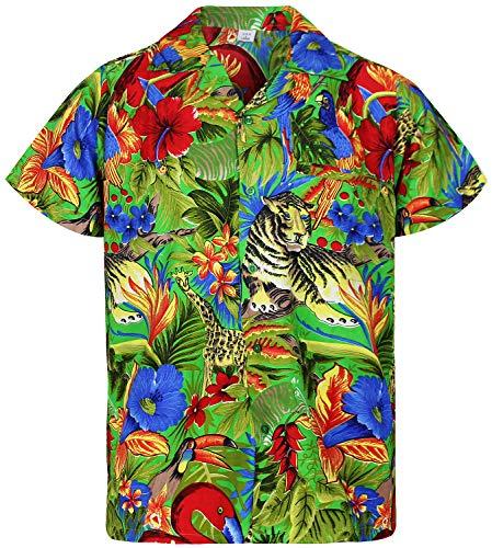 Funky Hawaiian Shirt, Jungle, Verde, L
