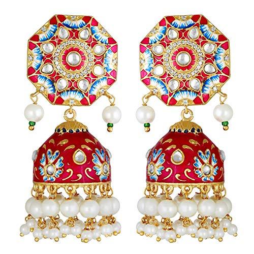 Aheli Unique Wedding Festive Party Wear Flower Enamel Indian Jhumki Faux Stone Studded Drop Dangle Earrings Ethnic Fashion Jewelry for Women Girls