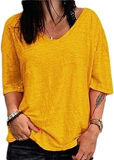 KLJR Women Loose Fit Short Sleeve Tops Solid V-Neck Blouse T-shirts