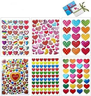 Stickers Coeur, 60 Feuilles Autocollants Adhésifs en Coeur Colorés Stickers pour Les Anniversaires, Saint-Valentin, Mariag...