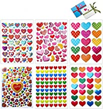 Love Heart Stickers, 60 Sheets Colorful Heart Decorative Stickers for Valentine's Day, Anniversaries, Wedding (Colorful)