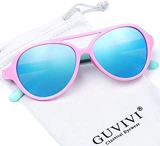GUVIVI Polarized Kids Aviator Toddler Sunglasses TPEE...