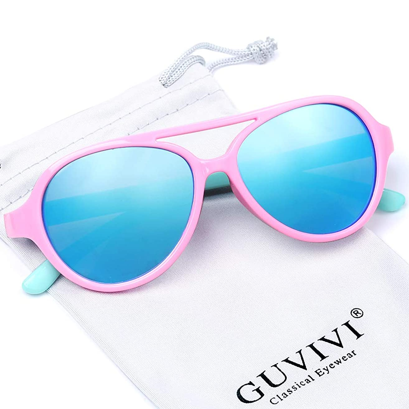 GUVIVI TPEE Polarized Rubber Flexible Toddler Kids Aviator Sunglasses for Boys Girls&Children Age 3-10