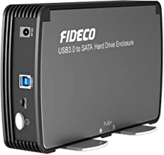 FIDECO 3.5/2.5 Inch Hard Drive Enclosure, USB 3.0 to SATA Aluminium External HDD Case Built-in Cooling Fan Support UASP and 10TB Drives for 3.5/2.5 Inch HDD SSD,Tool-Free