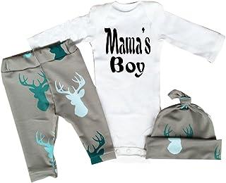 Tofasionla Neugeborenes Baby-Mädchen Junge Spielanzug Tops Hirsch Hose Hut Outfit Set Kleidung