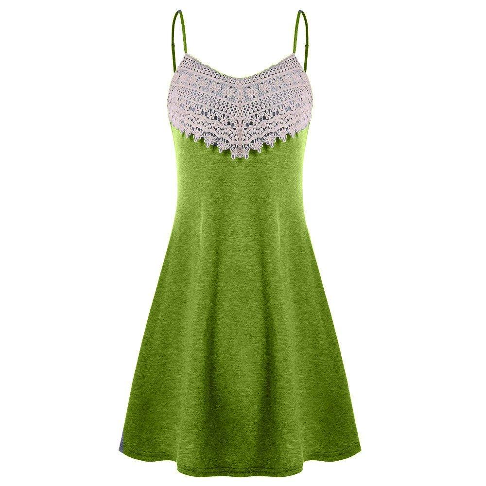 Available at Amazon: Lljin Fashion Women's Crochet Lace Backless Mini Slip Dress Camisole Sleeveless Dress