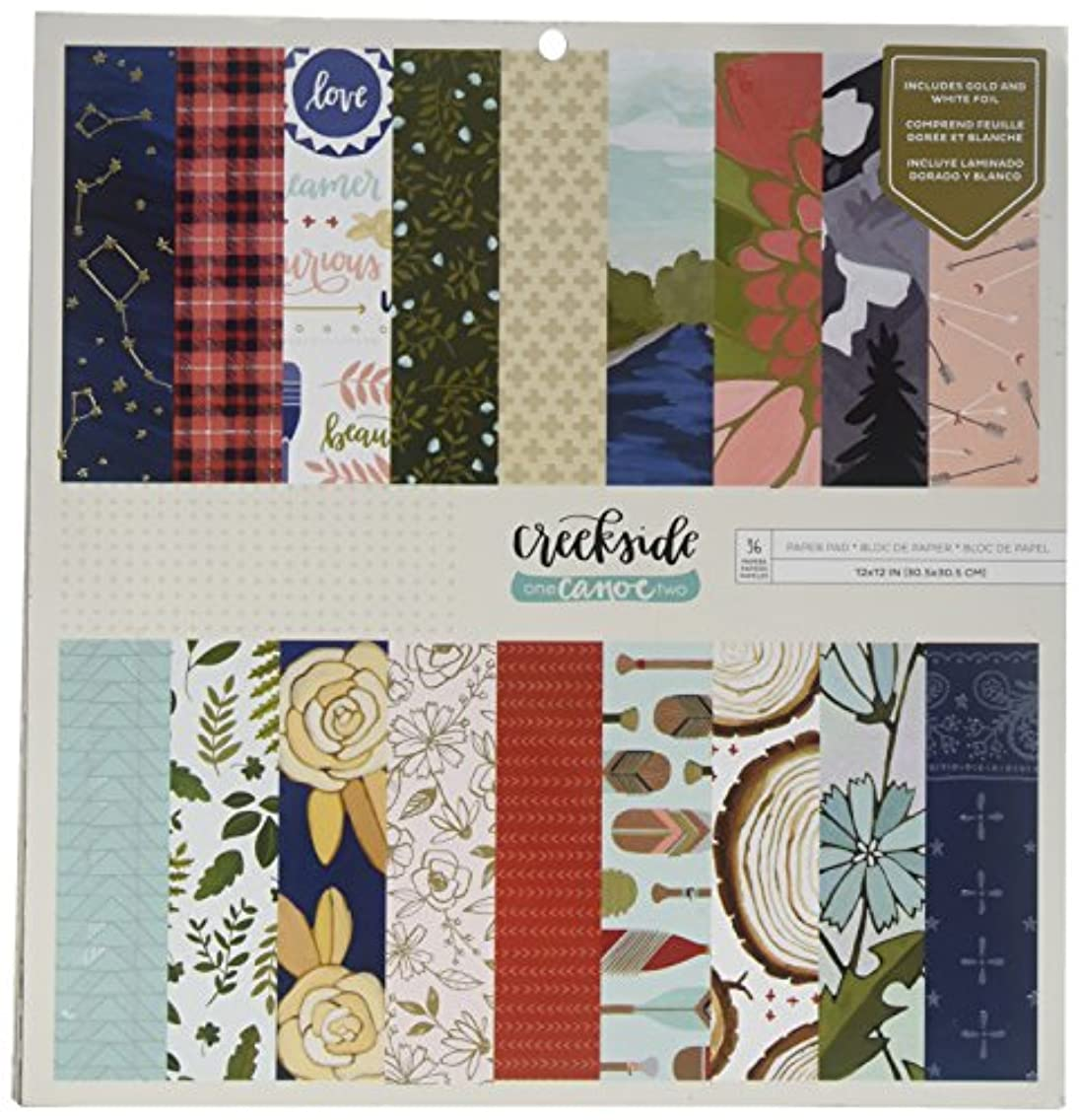 American Crafts 1 Canoe 2 Creekside 36 Sheet 12 x 12 Specialty Paper Pad While Foil