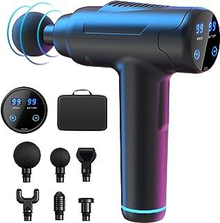 OLEKE Pistolet de Massage Electrique Portable 99 Niveaux Réglables Masseur de Muscle Electrique avec Ecran LCD 6 Têtes de ...