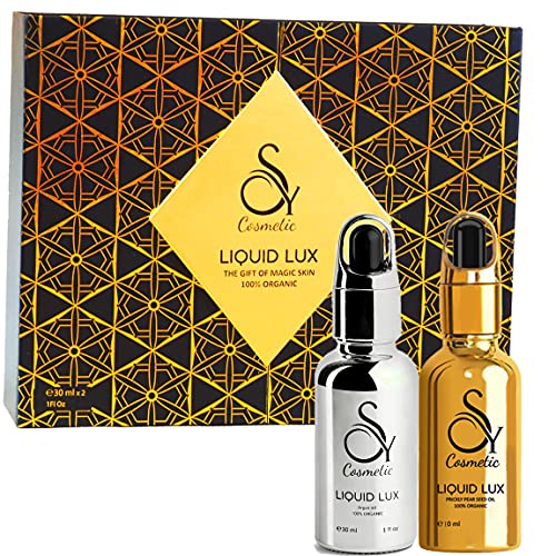 Luxuriöses Anti-Aging Geschenkset, 2x30ml - Kaktusfeigenkernöl & Arganöl Bio, Kaltgepresst, geschenke für frauen, für Haut, Gesicht, Haar & dunkle Augenringe, gegen...