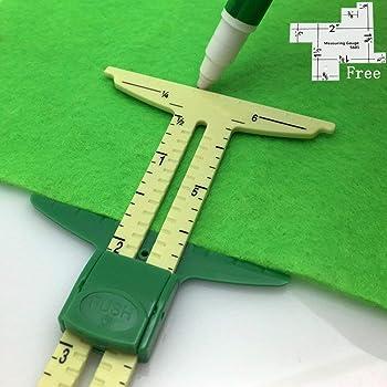 FQTANJU 5-in-1 Sliding Gauge Measuring Sewing Ruler Tool