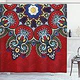 ABAKUHAUS Mandala roja Cortina de Baño, ucraniano étnico, Material Resistente...