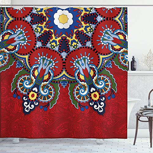 Ambesonne Red Mandala Shower Curtain, Russian and Ukranian Lace Like Flowers Leaves Swirls Vintage Artwork, Cloth Fabric Bathroom Decor Set with Hooks, 70' Long, Red