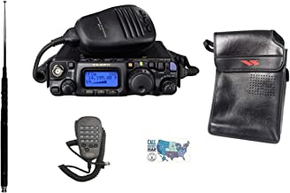 Yaesu FT-818 Radio and Accessory Bundle - 5 Items - Includes FT-818 HF/VHF/UHF QRP Transceiver, Soft Vinyl Case, DTMF Microphone, MFJ-1899T Multiband Antenna, and Ham Guides TM Quick Reference Card