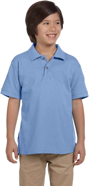 Harriton 6 oz. Ringspun Cotton Pique Short-Sleeve Polo (M200Y) Light College Blue, S
