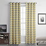 gwell onda transparente cortinas cortina cortina con ojales de cortina para salón dormitorio 1er Pack, tela, amarillo gris, 160x140 (HxB), Stück x1