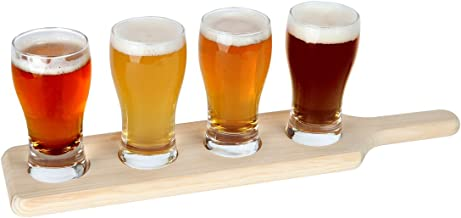 Lily's Home Beer Flight Paddle and Sample Tasting Set, Includes 4 Pilsner Glasses with 1 Attractive Wooden Tray, Best for Beer Lovers, Home Brewers, Professional Bars and Breweries, Set of 4