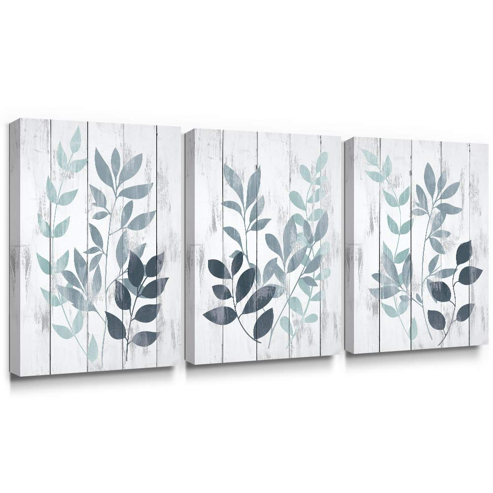 Takfot Leaf Wall Art Yellow Grey Leaves Canvas Painting Vintage Botanical Pictures Rustic Plants Artwork Home Decor Stretched and Framed Artwork for Bathroom Living Room 12×16 Inch, 3 Panels