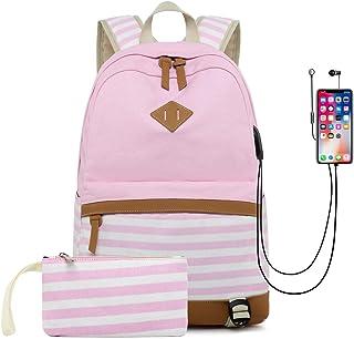 DNFC Schulrucksack Canvas Rucksack mit USB-Ladeanschluss Leinwand Gestreifte Tasche Daypack Backpack Schultaschen mit Großer Kapazität Freizeitrucksack für Teenager Mädchen Jungen Pink