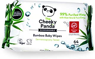 The Cheeky Panda Bamboo Baby Wipes Pack of, Unscented, (Pack of 64)