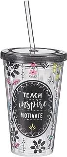 "Flower Teacher Tumbler –– Double Wall Insulated Tumbler w/Lid & Straw: ""Teach, Inspire, Motivate"" -Teacher Appreciation Gift for Women & Men, 16 oz"