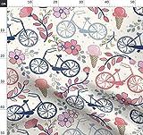 Eis, Fahrräder, Rosa, Blau Stoffe - Individuell Bedruckt