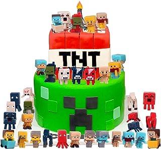 36pcs Pixel Mini Figures Cake Topper for Cake Decoration