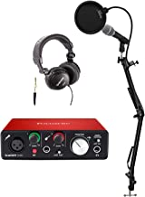 Focusrite Scarlett Solo USB Audio Interface (2nd Gen) and Pro Tools Bundle With Recording Microphone, Headphones, Knox Studio Stand Pop Filter, and XLR Cable