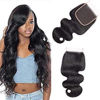 10A Brazilian Closure Body Wave 100% Unprocessed Virgin Human Hair Lace Closure 4X4 Free Part Natural Black (10 inch, Natural Color)