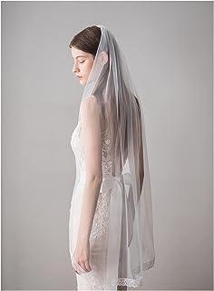 ブライダルベール1層ショートシンプルチュールブライダルカバーベールウェディングアクセサリー 結婚式の装飾 (Color : White)