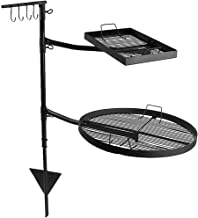 Sunnydaze Dual Campfire Steel Cooking Grill Grate Swivel System - Outdoor Adjustable Fire Pit BBQ Grilling Accessory Set with Stand - Ground Stake with 2 Swing Grates