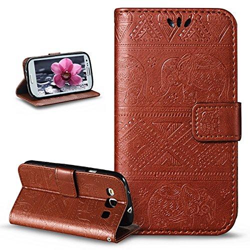 ikasus Compatible avec Coque Galaxy S3/S3 Neo Etui,Embosser Gaufrage Éléphant tribal Housse Cuir PU Housse Etui Coque Portefeuille supporter Flip Case Etui Housse Coque pour Galaxy S3/S3 Neo,Marron