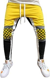 Qootent Men Sports Trousers Stitching Plaid Training Pants Stretch Jogger Pants