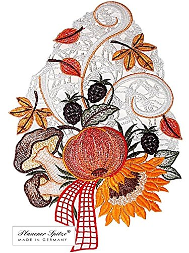 Fensterbild 23x32 cm + Saugnapf Plauener Spitze Stickerei Sonnenblume Pilz Spitzenbild Herbst